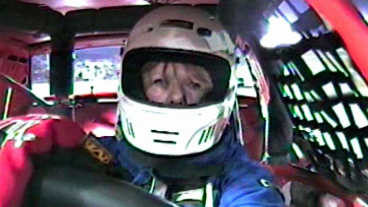 Woman driving race car
