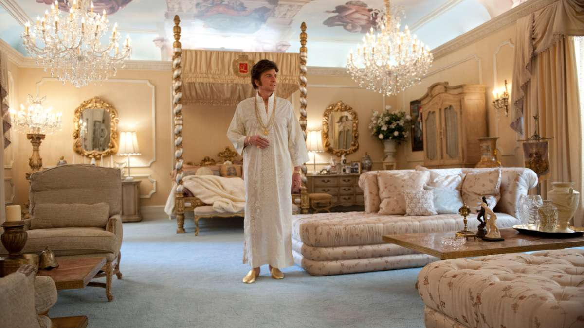 Michael Douglas as Liberace in bedroom