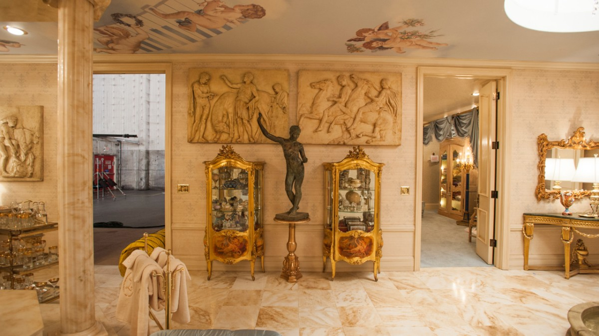 Liberace entrance to marble bathroom