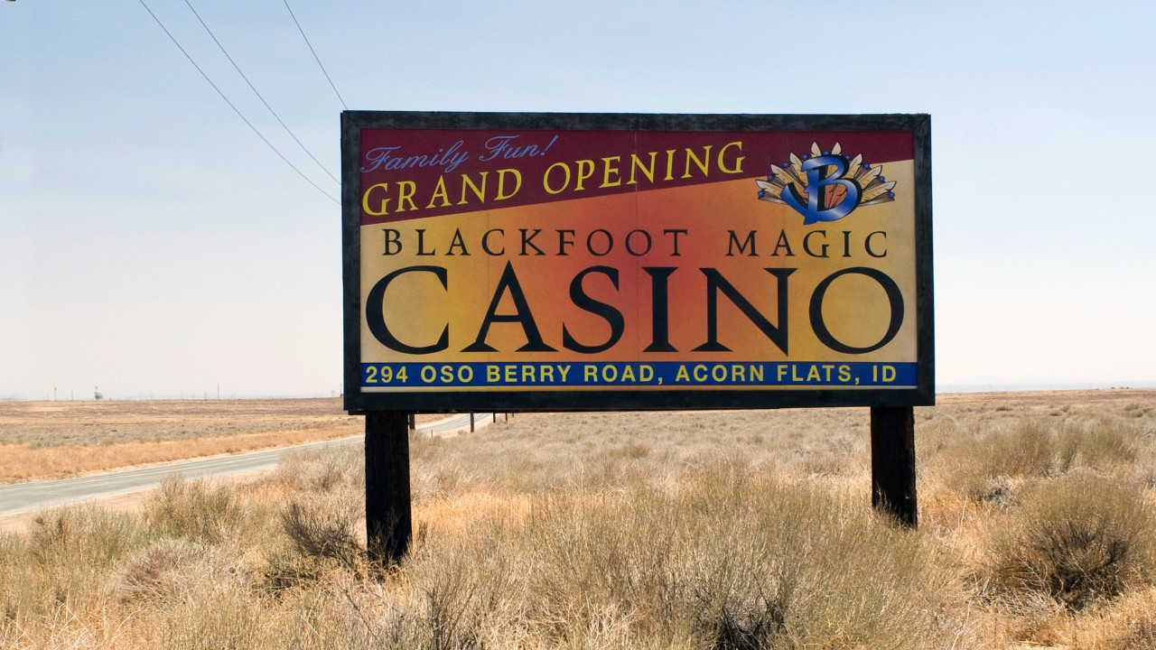 Casino sign by desert road