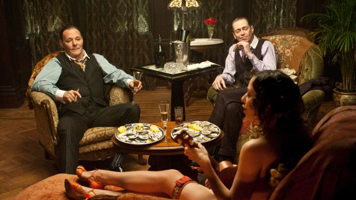 Mayor Hague and Nucky Thompson in parlor with woman