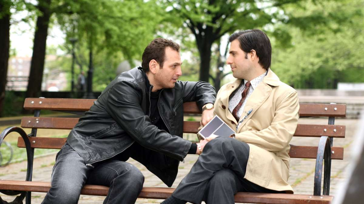 Jonathan Ames and man on bench in park