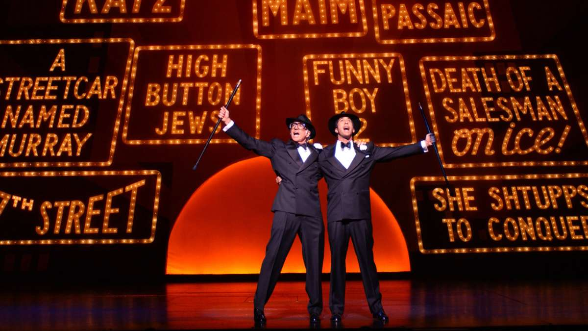 Larry David and David Schwimmer performing in The Producers
