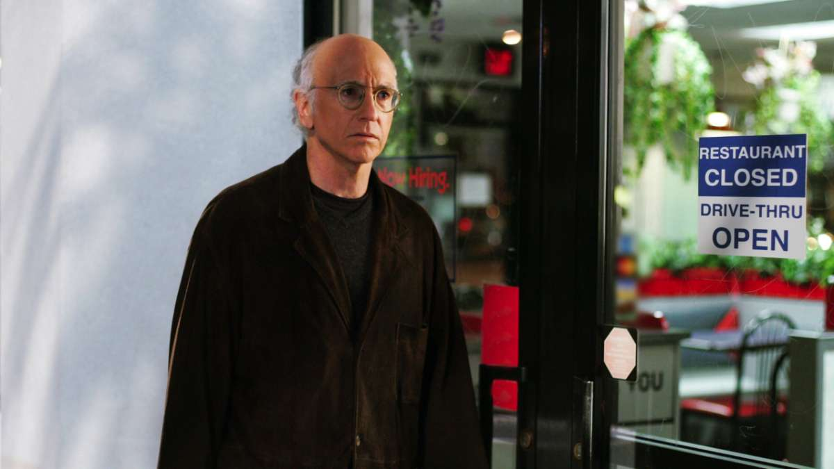 Larry David restaurant closed drive-through open sign