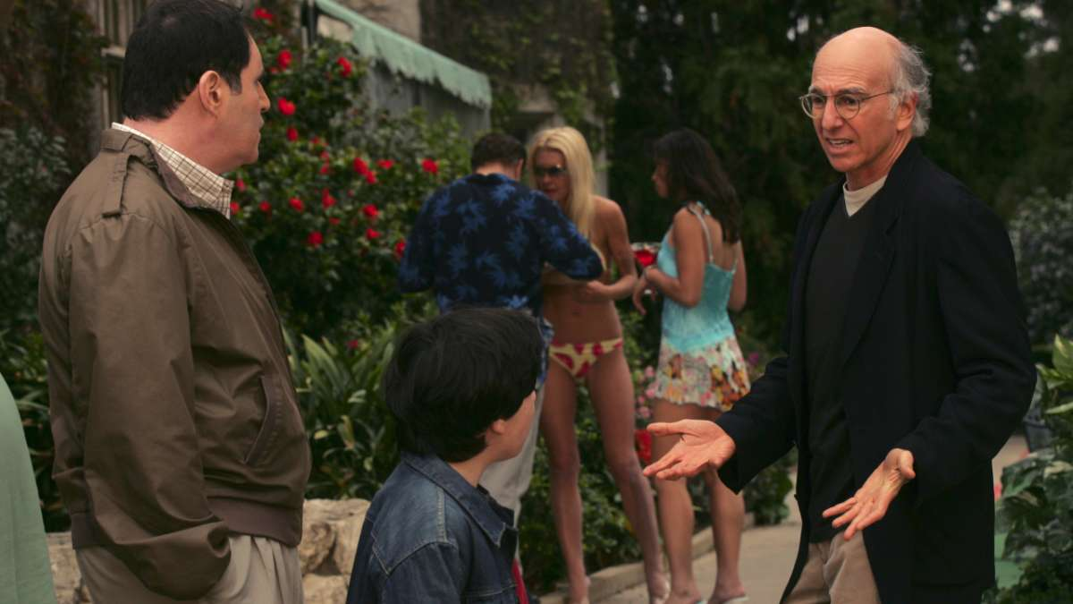 Larry David Andy and kid outside Playboy mansion