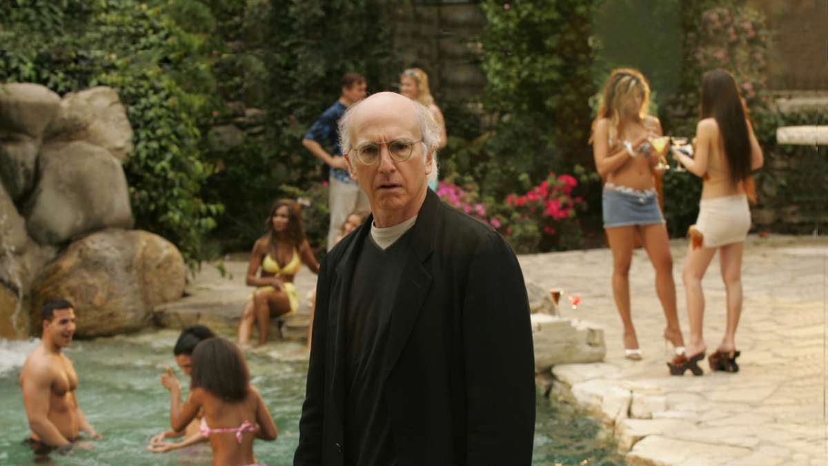 Larry David Playboy mansion swimming pool