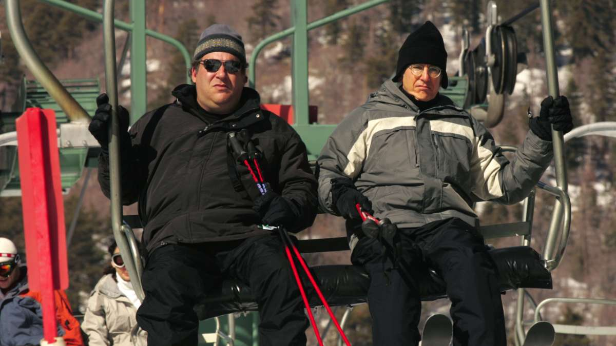 Jeff Greene and Larry David on ski lift