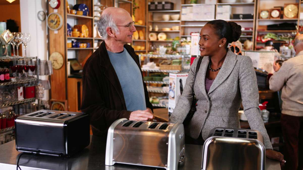 Larry David and Loretta Black toaster display at store