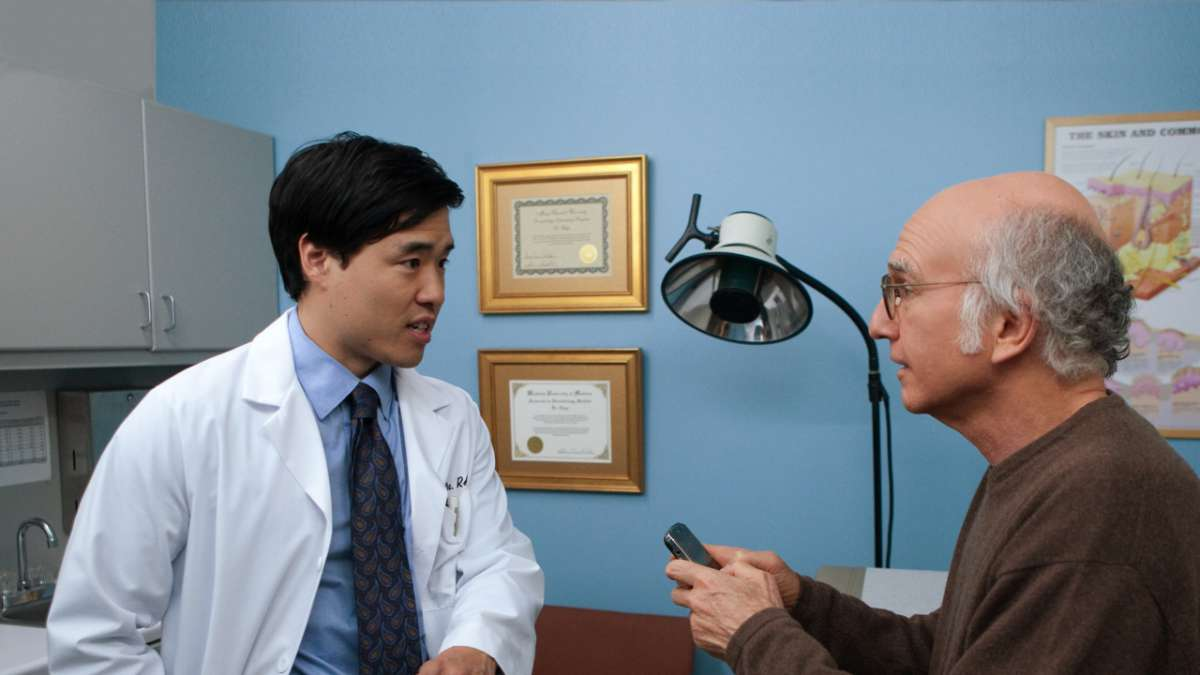 Doctor and Larry David in examination room