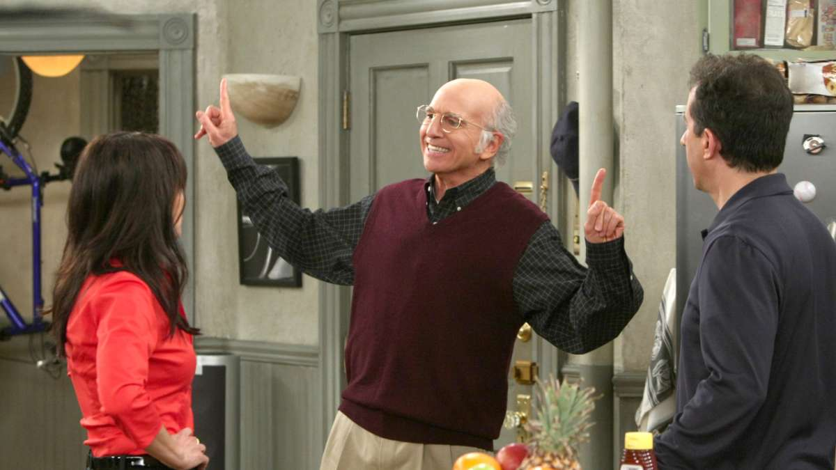Julia Louis-Dreyfus Larry David Jerry Seinfeld on set