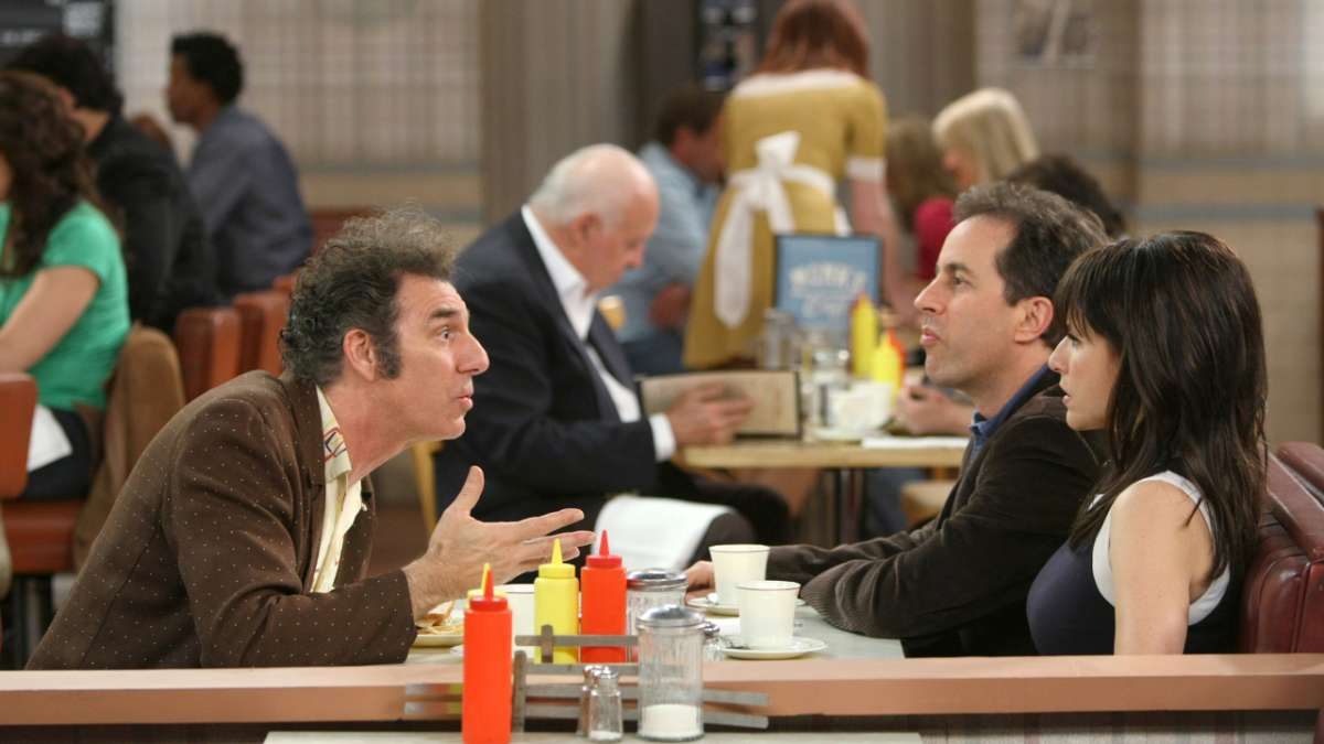 Michael Richards Jerry Seinfeld Julia Louis-Dreyfus in diner booth