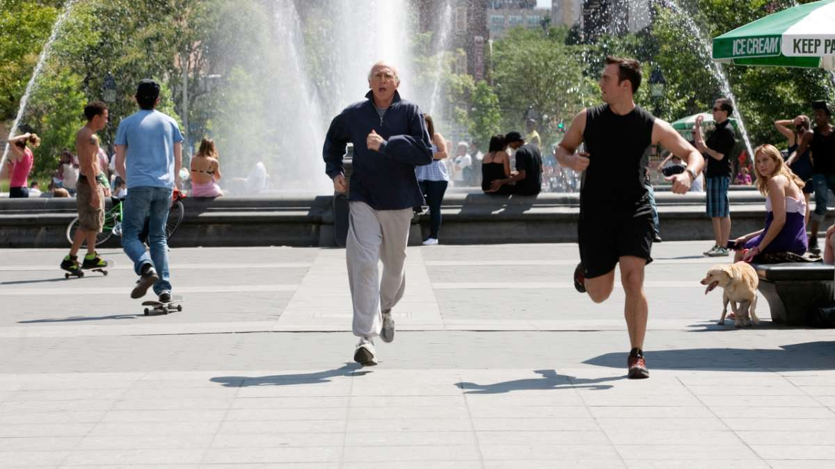 Larry running with trainer