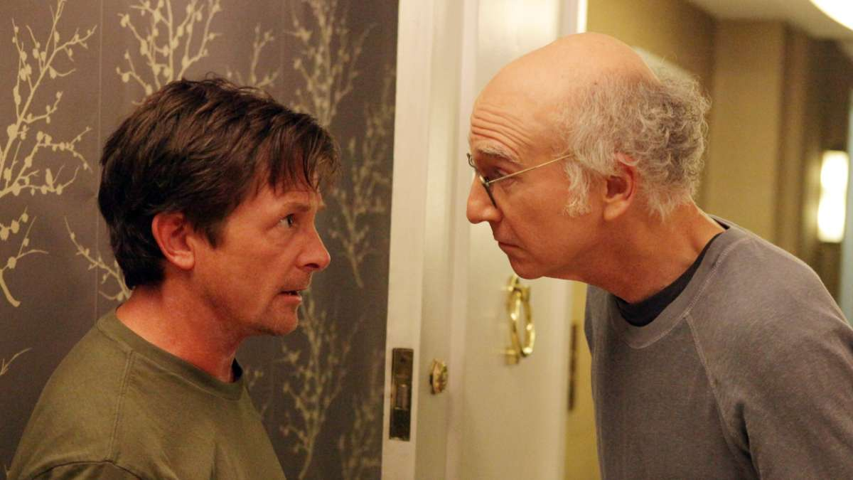 Michael J Fox and Larry argue