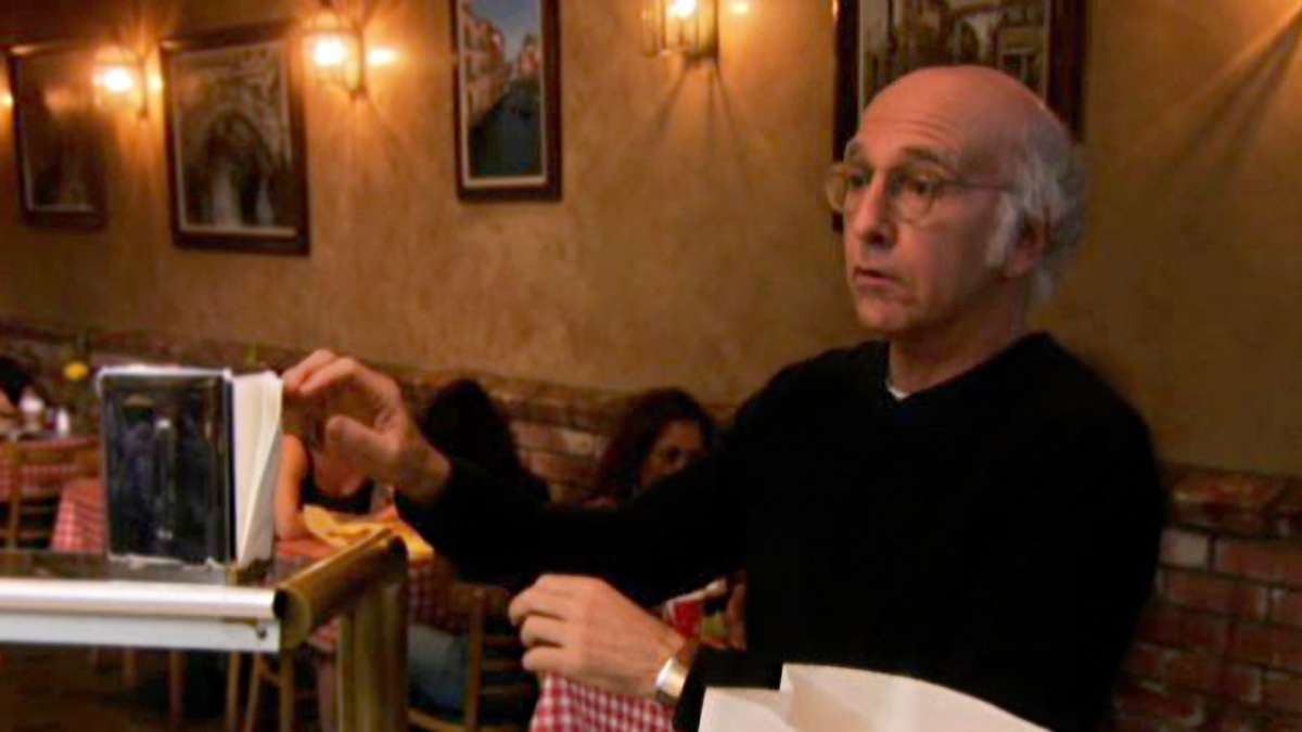 Larry David on napkins