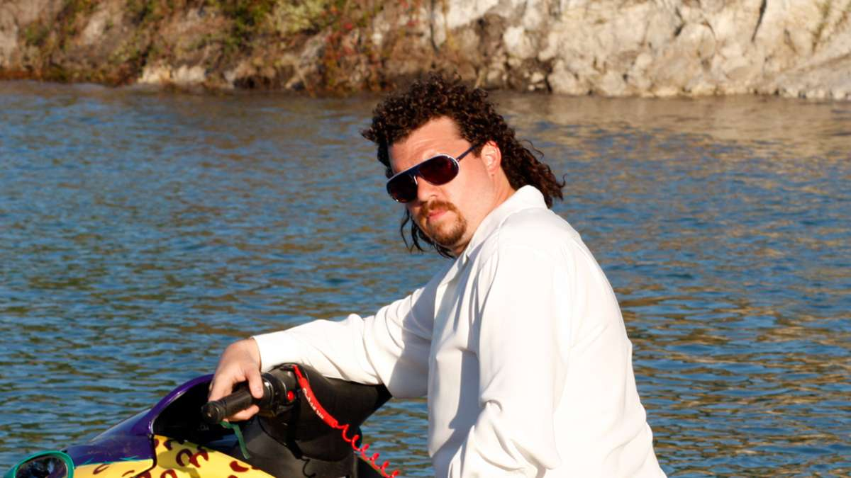 Kenny Powers stares from jet ski