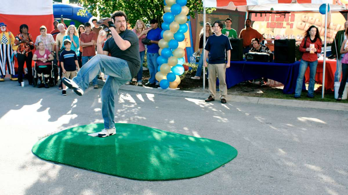 Kenny Powers pitching at promotional event