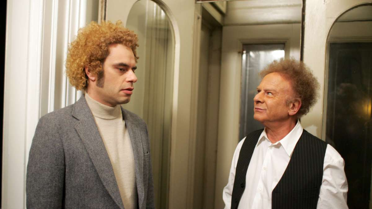 Bret dressed as Art Garfunkel with Art Garfunkel