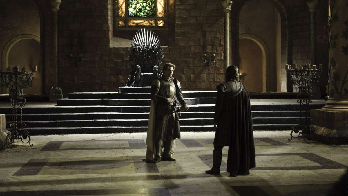 Jaime and Ned in throne room
