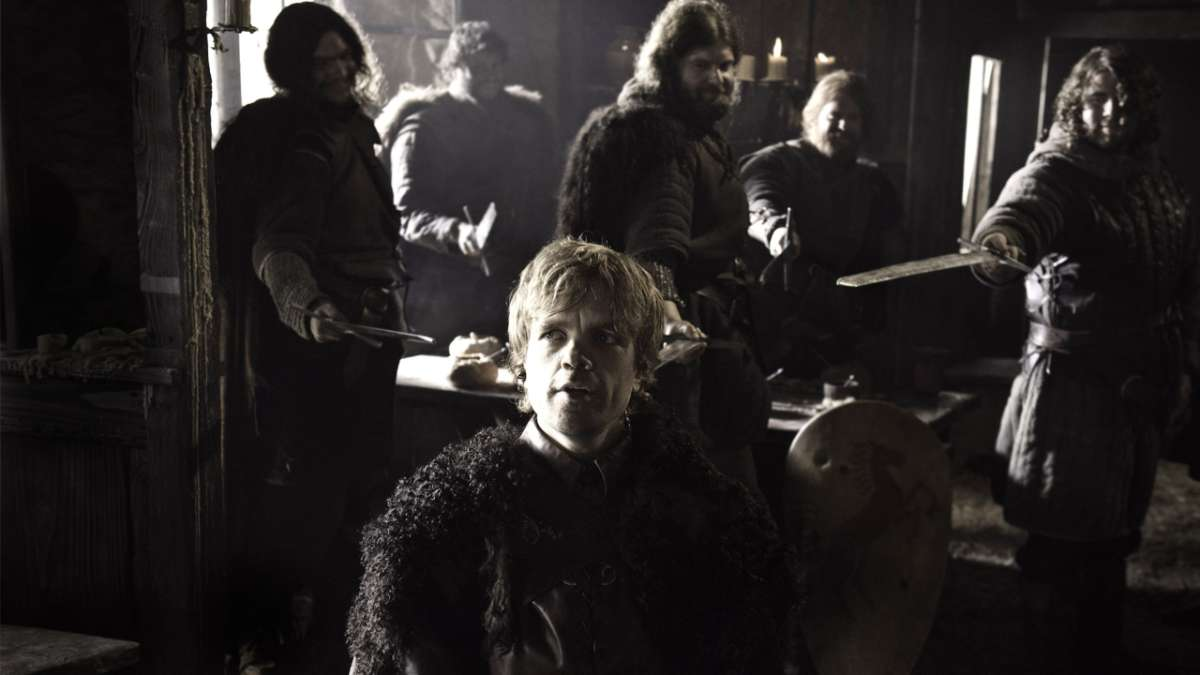 Tyrion held at sword point in tavern