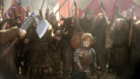 Tyrion in armor with hill people