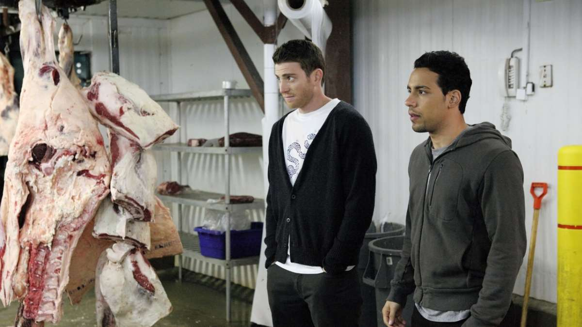 Ben and Cam in slaughterhouse