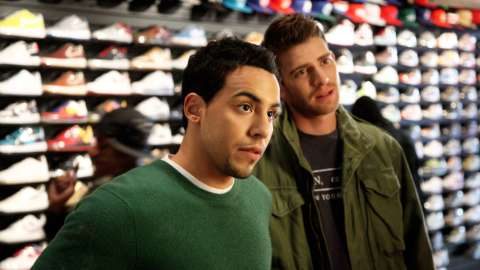 Cam and Ben in shoe store