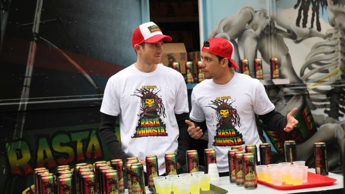 Ben and Cam give out samples of rasta monsta
