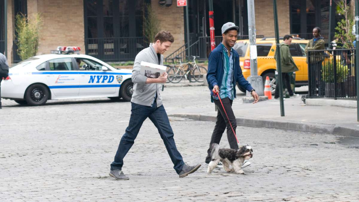 Ben and Domingo walking with dog