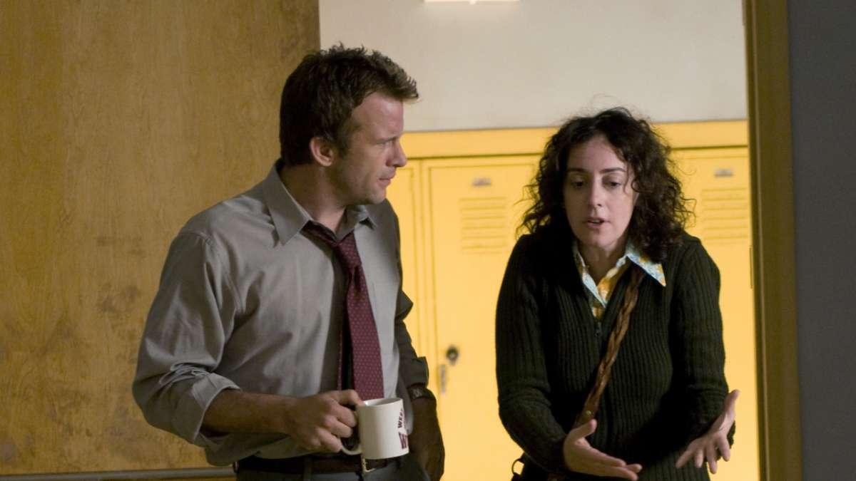 Ray with coffee and Tanya in school hall
