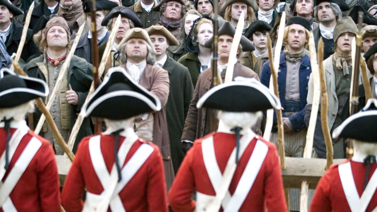 Colonists face off with redcoats