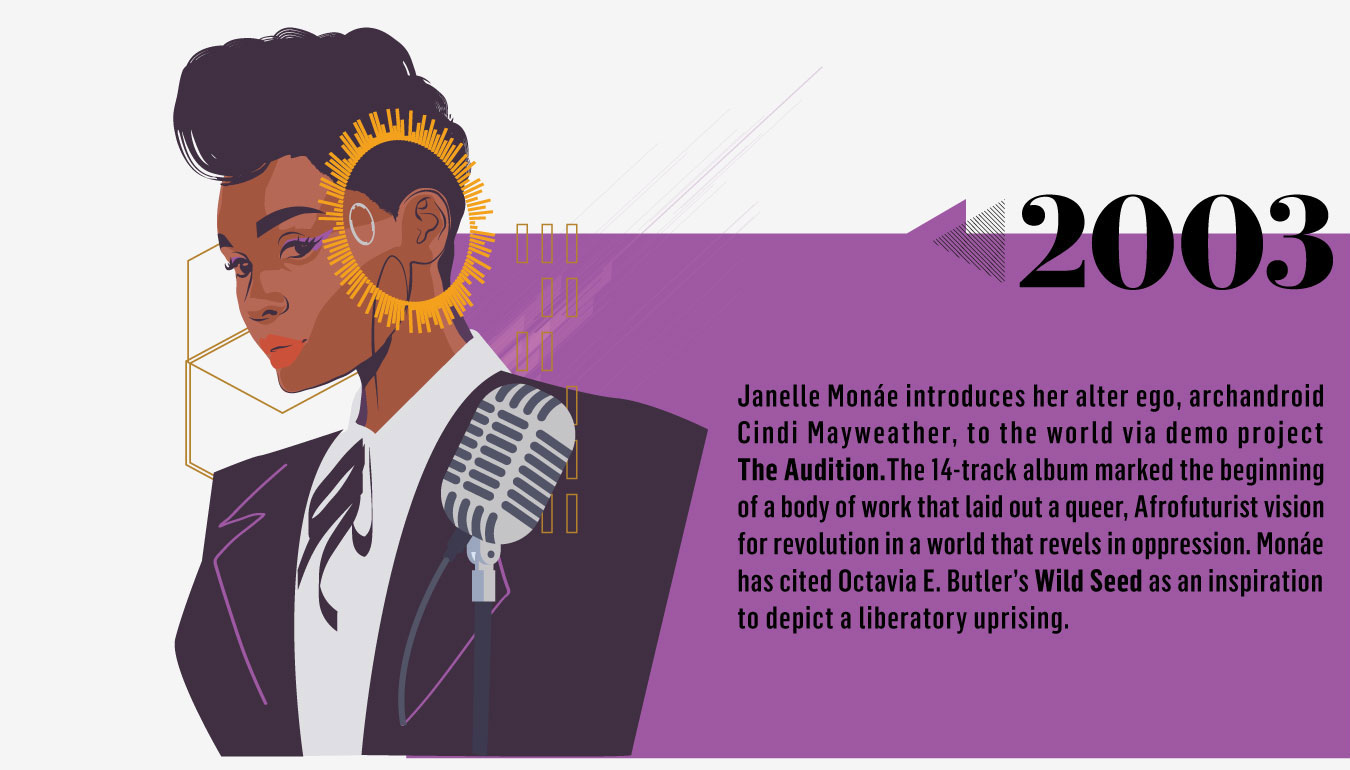 2003: Janelle Monáe introduces her alter ego, arch android Cindi Mayweather, to the world via demo project The Audition. The 14-track album marked the beginning of a body of work that laid out a queer, Afrofuturist vision for revolution in a world that revels in oppression. Monáe has cited Octavia E. Butler's Wild Seed as an inspiration to depict a liberator uprising.