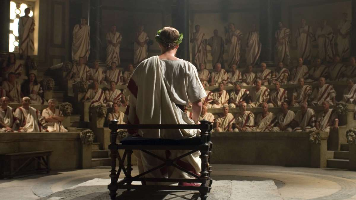 Gaius Octavian seated in Senate