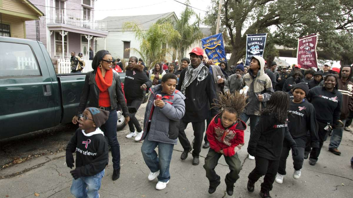 Ladonna Batiste Williams and kids in second line