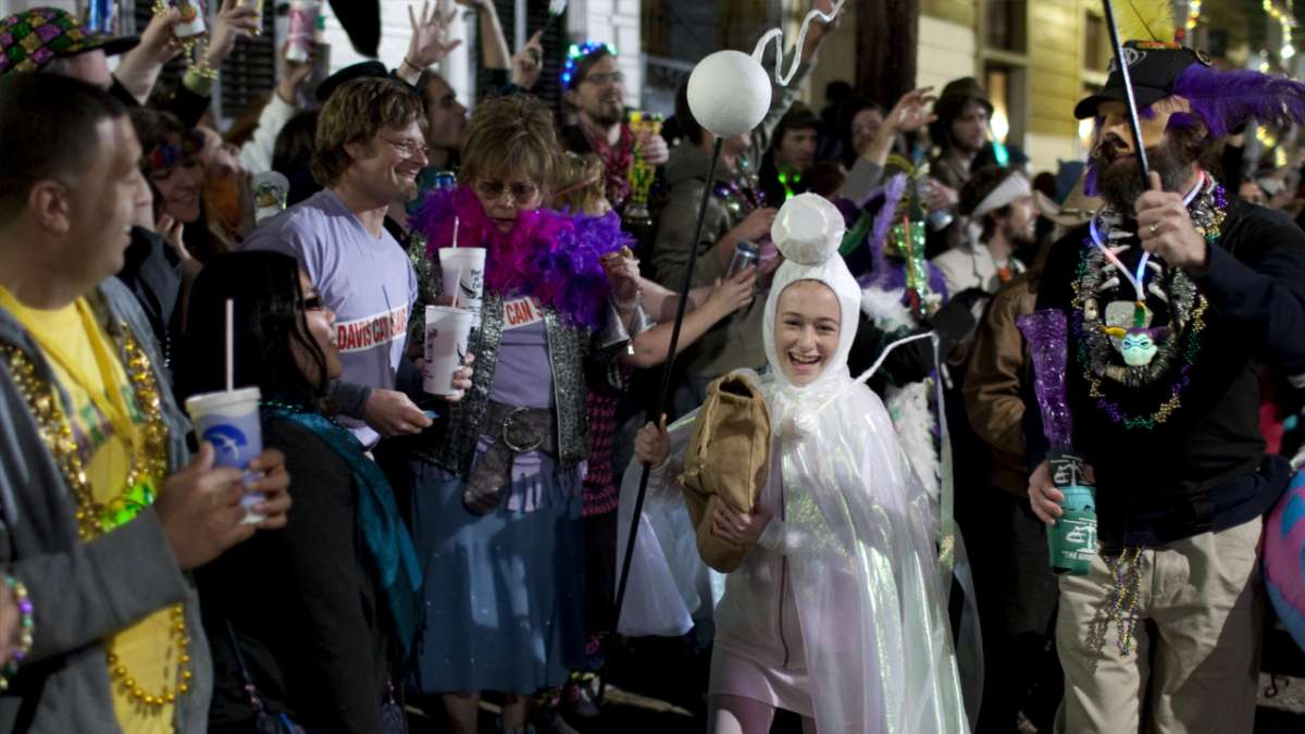Bernette daughter dressed as sperm Mardi Gras parade